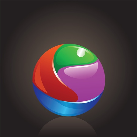colorful and shiny chromium ball graphics agains dark background Vector