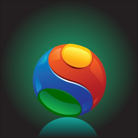 colorful and shiny chromium ball graphics agains dark background