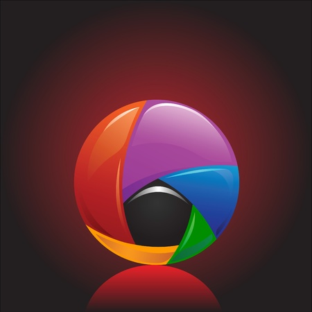colorful and shiny chromium ball graphics agains dark background Stock Vector - 10121655