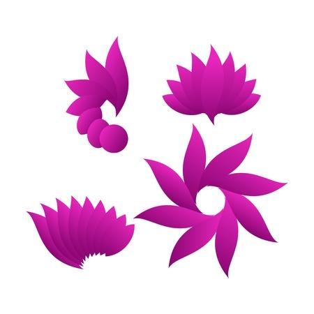 flor de loto: elementos decorativos de diseño floral Vectores