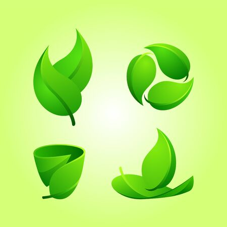 isolated foliage design element set