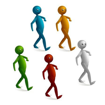 caminando: Cartoon stick figura caminando