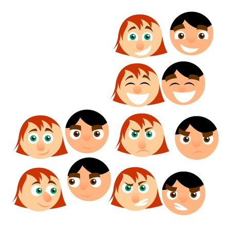 men and women cartoon emotions