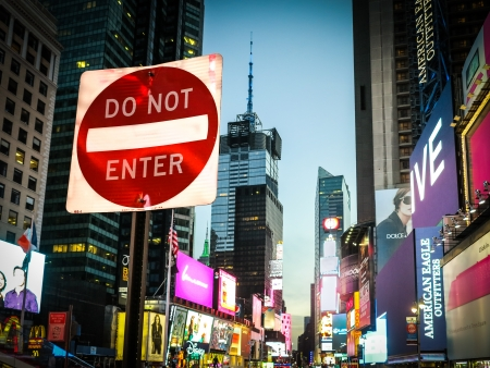do not enter: Times Square, New York, circa January 2013   Times Square Do Not Enter