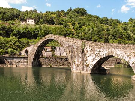 mediaval: Mediaval bridge near Bagni Di Lucca, Italy