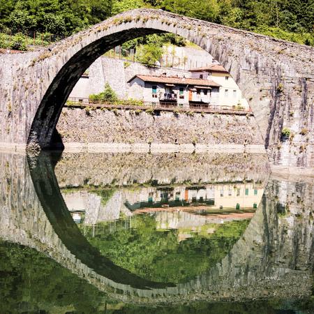 Ponte della Maddalena mediaval bridge across the Serchio. Tuscany. Bridge of the Devil