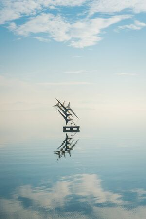 Lake Trasimeno in Umbria and the monument dedicated to the student pilots