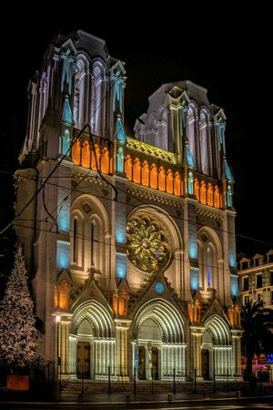 Basilique Notre Dame de lAssomption in  Nice at night