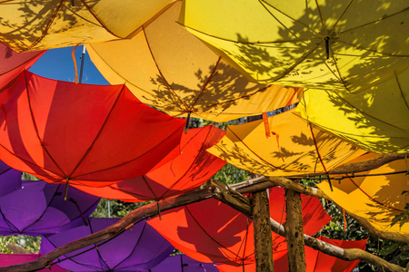 Upturned bright and colorful umbrellas