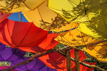 upturned: Upturned bright and colorful umbrellas
