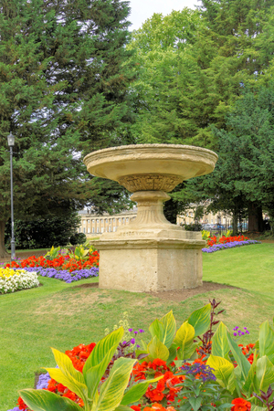 Royal Victora Park Bath fountain and flowers in summer