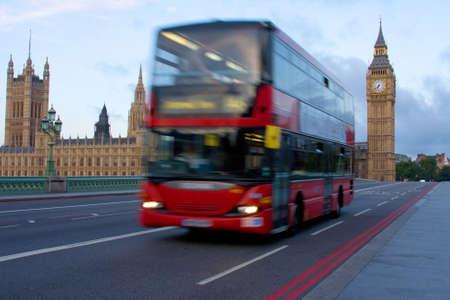 London bus on westminster bridge Stock Photo