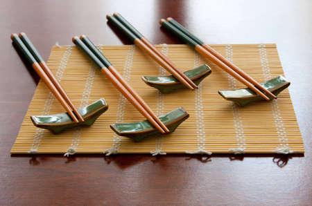 Chopsticks and table mat