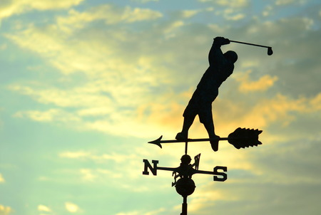obx: Tee Time Golf Weather Vane Stock Photo