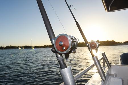 Fishing Rod & Reel on a Charter Boat. Banco de Imagens