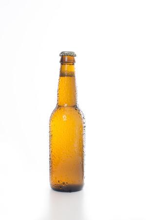 Plain Beer bottle set against a white background