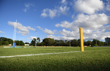 Rugby field with goal post and corner post
