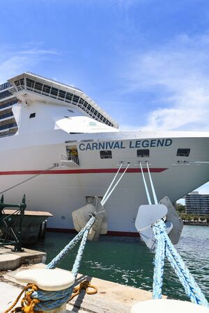 Sydney, Australia - December 09, 2018: The ocean cruise liner Carnival Legend is docked at the Overseas Passenger Terminal in Sydney Harbour, Circular Quay. - Image