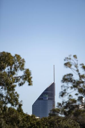Brisbane, Australia – July 09, 2019:   Editorial use only: 1 William Street building viewed from East Brisbane.