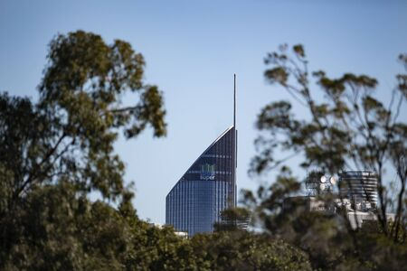 Brisbane, Australia – July 09, 2019:   Editorial use only: 1 William Street building viewed from East Brisbane. Editorial