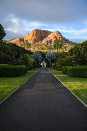 A view of Castle Hill as seen from Queens Gardens in Townsville, Queensland, Australia
