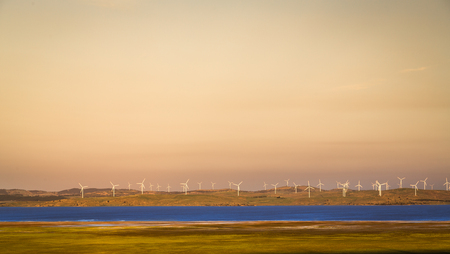 Late afternoon landscape view of Lake George and the Capital Wind Farm near Bungendore.