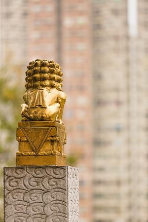 Chinese golden guardian lion. Hong Kong.
