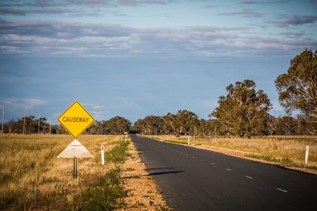 Causeway. Road from Tocumwal to Wagga Wagga, NSW.