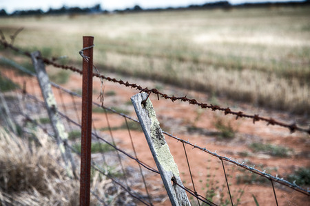 A barbed wire fence and old wood fence posts on a farm in rural Australia. Фото со стока