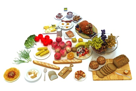 pyramide alimentaire: Pyramide alimentaire Concept de groupes d'aliments sains isol� sur un fond blanc, 300 DPI