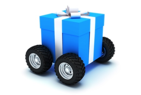 Gift on wheels, isolated on a white background, 300 D.P.I Stock Photo - 9685871