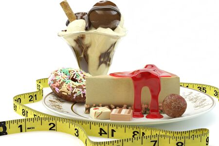 rich calorie desserts surrounded by a measuring tape on a white background 300 D.P.I