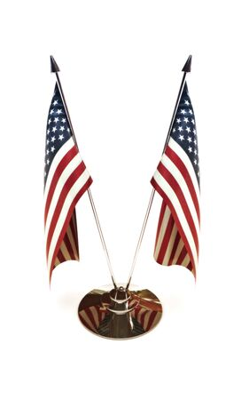 american flag: American miniature flags isolated on a white background, 3d model, 300 D.P.I  Stock Photo