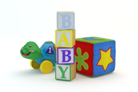 juguetes de madera: Juguetes de madera bloquea beb� ortograf�a con juguetes de beb� en fondo aislado en un blanco modelo 3d, 300 D.P.I de fondo