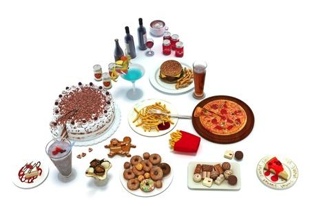 comida chatarra: Pir�mide de alimentos de concepto de grupos de alimentos insalubres que es consumido cada d�a aislado en un fondo blanco, 300 D.P.I