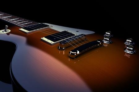 300 D.P.I、黒の背景で隔離のエレク トリック ギター