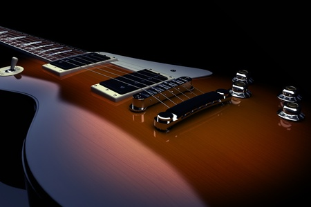 guitar: Electric guitar isolated on a black background, 300 D.P.I