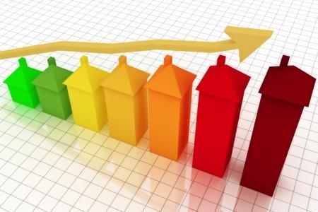 주택 이득을 보여주는 화살표가있는 비즈니스 그래프