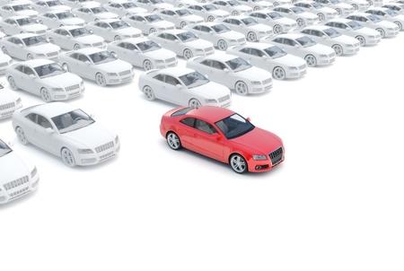 ruedas de coche: Saliendo de la multitud, uno rojo el resto blanco, aislado en un fondo blanco, 300 D.P.I de modelo 3D Foto de archivo