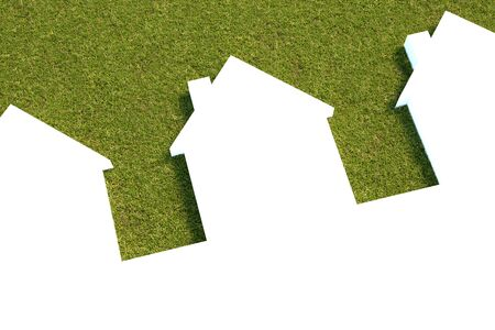 White houses with a lawn grass background , 3D model , 300 D.P.I Stock Photo - 9732394