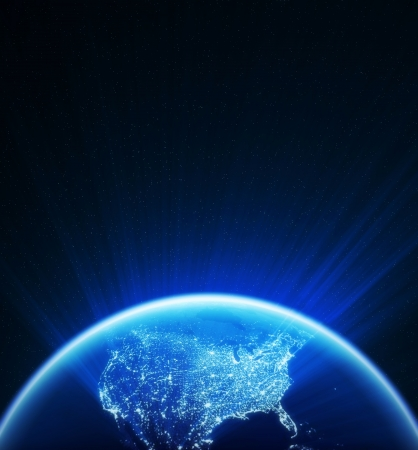 Glowing globe at night , North America ,textures are from www.NASA.gov