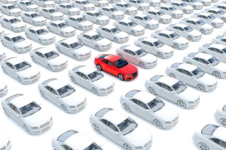 Een rode auto met honderden witte