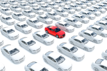 One red car with hundreds white Stock Photo
