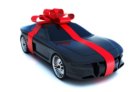 The big gift, sports car with bow, isolated on a white background, 300 D.P.I 3D model Stock Photo - 9732379