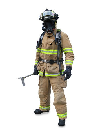 departments: Modern firefighter in gear with equipment isolated on a white background  Stock Photo