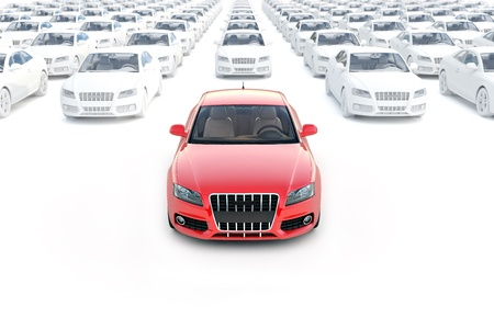 Front view ,one red car with hundreds white isolated on a white background photo