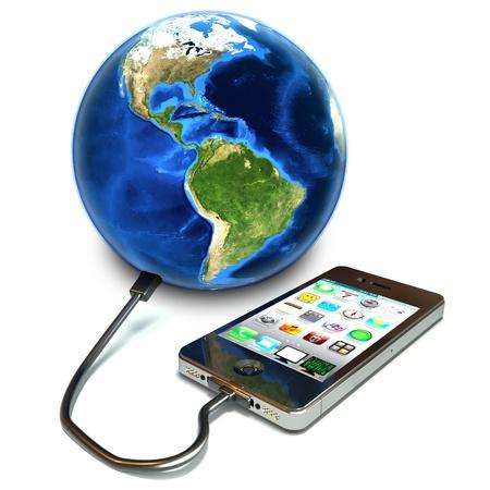 Conectando al mundo el concepto de teléfono inteligente de pantalla táctil. Foto de archivo