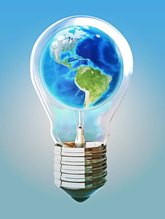 Earth light bulb concept with blue background, texture from www.Nasa.org photo