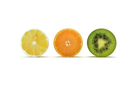 Fruit sliced concept, kiwi, orange, and lemon isolated on a white background , 300 D.P.I Stock Photo - 9981891