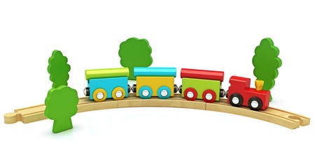 wood railroad: Wooden toy train isolated on a white background ,300 D.P.I Stock Photo